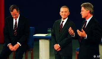TV-Duell zwischen George Bush, Bil Clinton, Ross Perot 1992 US-Präsidentschaftswahlen