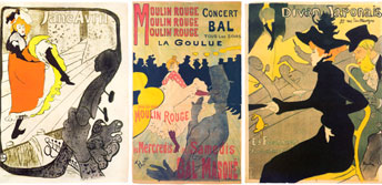 Three posters by Henri Toulouse-Lautrec
