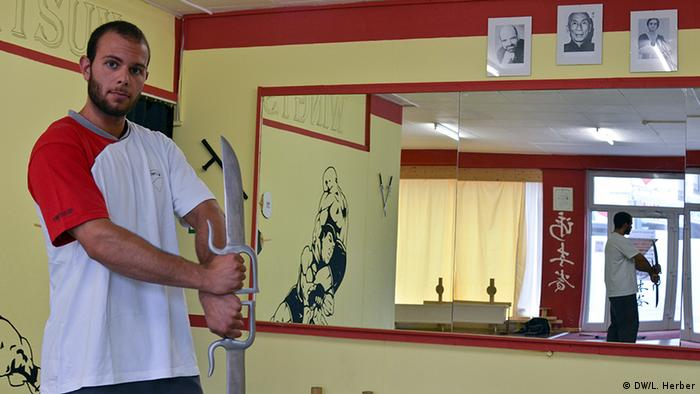 Oguzhan Batar in his martial arts studio in Duisburg