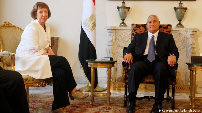 Egypt's interim President Adli Mansour (R) meets with EU foreign policy chief Catherine Ashton at El-Thadiya presidential palace in Cairo July 29, 2013. Ashton became the first senior overseas envoy to visit Egypt's new rulers since the weekend killing of at least 80 supporters of the country's deposed Islamist president. REUTERS/Amr Abdallah Dalsh (EGYPT - Tags: POLITICS)