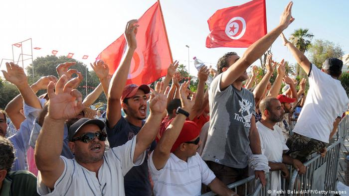 Demonstranten in Tunis (Foto: Fethi Belaid/AFP/Getty Images)