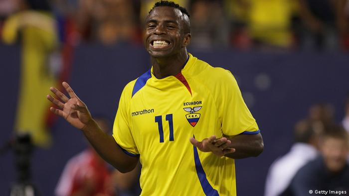 EAST RUTHERFORD, NJ - AUGUST 20: Christian Benitez #11 of Ecuador reacts after scoring a goal in minute 40 of the game against Colombia at Giants Stadium in the Meadowlands on August 20, 2008 in East Rutherford, New Jersey Ecuador won 1-0 (Photo by Mike Stobe/Getty Images for Red Bull)