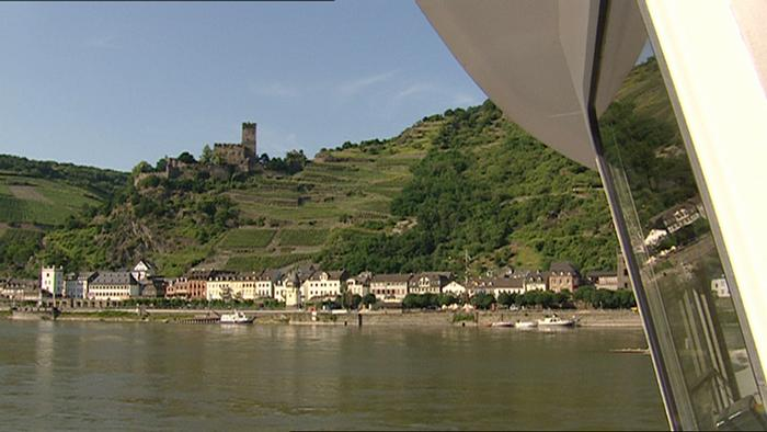 Upper Middle Rhine Valley, photo of river with castle ruins atop the hill No copyright available