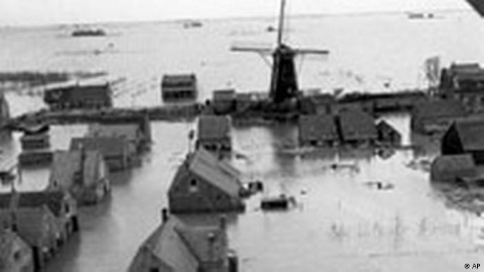 A Dutch town and windmill underwater in 1953