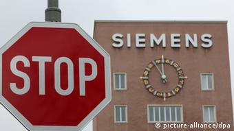STOP traffic sign outside Siemens building