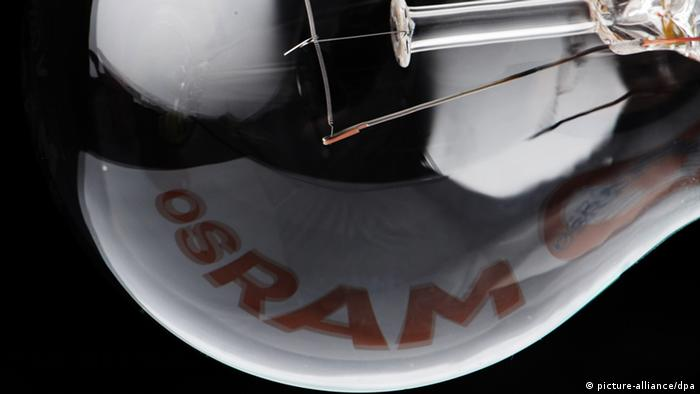 Light bulb with word Osram in reflection