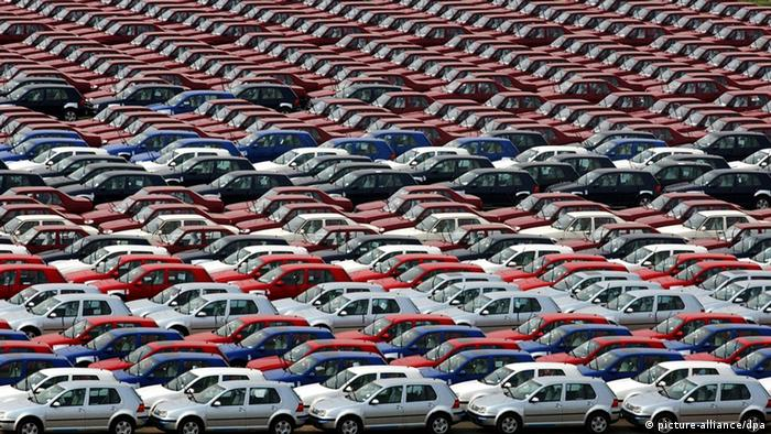 VW Golfs lined up outside the First Auto Works factory in Changchun, China.