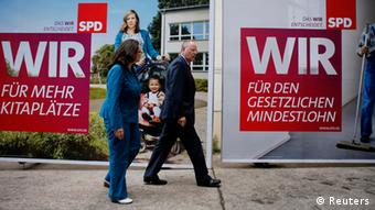 SPD official presentation of election campaign posters in Berlin July 30, 2013. REUTERS/Fabrizio Bensch