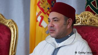 King Mohammed VI of Morocco attends the inauguration of the '25 Anos de Cooperacion Hispano-Marroqui' exhibition at the National Library on July 16, 2013 in Rabat, Morocco. King Juan Carlos of Spain is on a four-day official visit to Morocco. (Photo by Carlos Alvarez/Getty Images)
