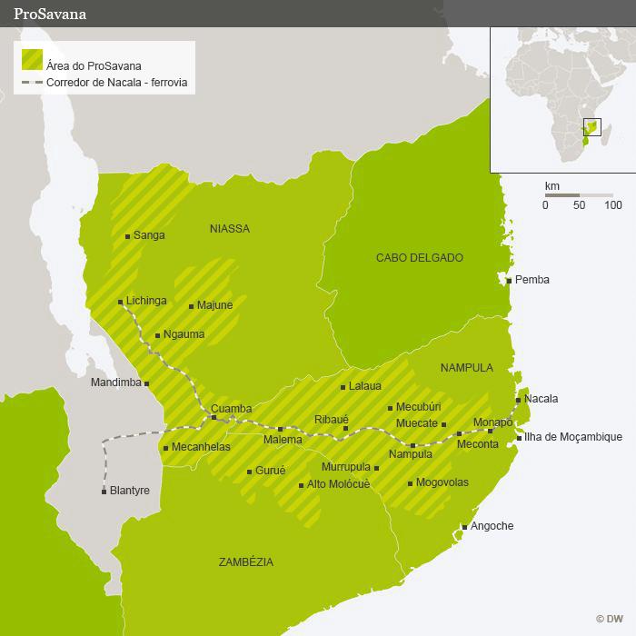 Mapa mostra a área abrangida pelo ProSavana