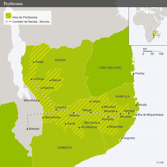 Karte Mosambik ProSavana Projekt Portugiesisch