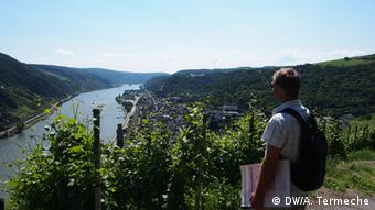 Man stands at edge of vineyard on path to Oberwesel