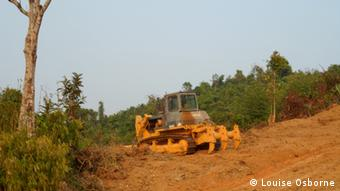 A tractor in a forest (Photo: Louise Osborne/DW)