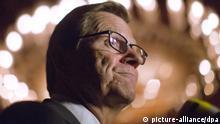 Außenminister Guido Westerwelle (FDP) spricht am 31.07.2013 in Kairo in Ägypten. Westerwelle hält sich zu politischen Gesprächen in Kairo auf und will unter anderem mit dem Präsidenten der Übergangsregierung Mansour zusammentreffen. Foto: Michael Kappeler/dpa