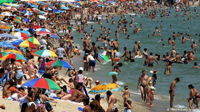 Tourists on the Bulgarian Black Sea city of Varna