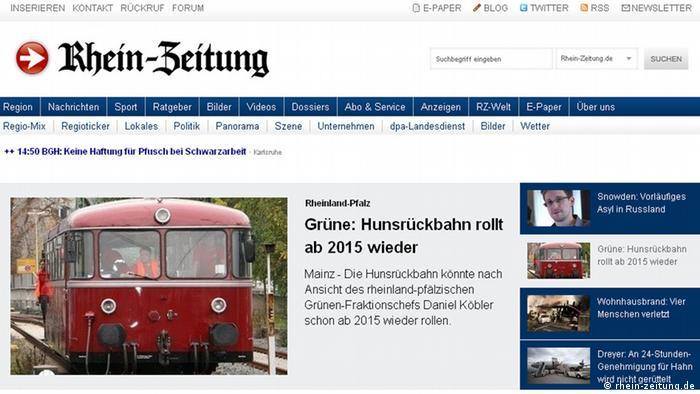 Screenshot of http://www.rhein-zeitung.de/. (Copyright: http://www.rhein-zeitung.de/)