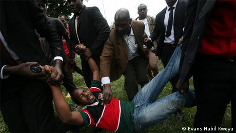 Security officials in Kenya carry away a protestor (Photo: Evans Habil Kweyu)