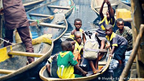 School children in a boat, Nigeria. (Photo: Oluyinka Ezekiel Adeparusi)