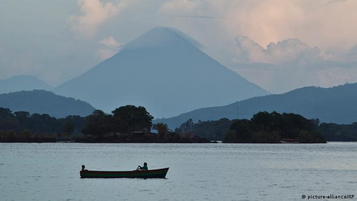 A boat sails on Lake Nicaragua
