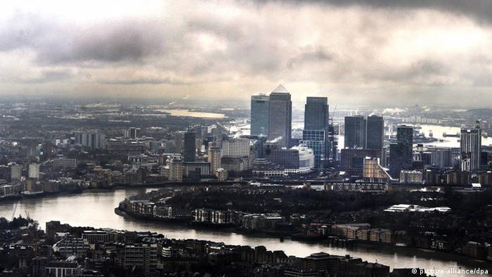Aerial photo of London towards Canary Wharf
