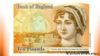 A handout specimen copy, made available by the Bank of England in London 24 July 2013, of the planned £10 pound that is to feature author Jane Austen. (Photo: EPA/HO)