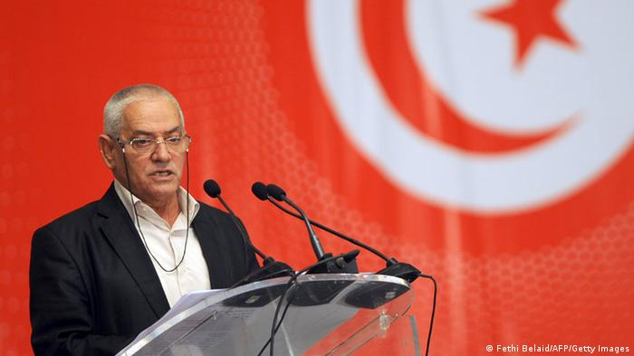 Head of the Tunisian General Labour Union (UGTT) Houcine Abbassi speaks during a Conference of 'national dialogue' that aims to reach an agreement on the content and the schedule of the adoption of the new constitution on May 16, 2013 in Tunis. The meeting, called by the UGTT, Tunisia's main trade union, gathers for a second round of talks organizations, associations and political groups, including the ruling Islamist party Ennahda who boycotted the first meeting. AFP PHOTO / FETHI BELAID (Photo credit should read FETHI BELAID/AFP/Getty Images)