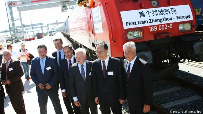 Торжественная встреча в Гамбурге поезда из Китая