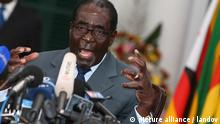 HARARE, Aug. 3, 2013 (Xinhua) -- The file photo taken on July 30, 2013 shows Robert Mugabe attending a press conference about the general election at the State House in Harare, capital of Zimbabwe. The Zimbabwe Electoral Commission announced on Aug. 3, 2013 that presidential candidate of Zimbabwe African National Union-Patriotic Front (Zanu-PF) Robert Mugabe won the presidency. (Xinhua/Meng Chenguang) XINHUA /LANDOV