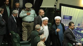 Inauguration of Hassan Rouhani in Parliament, Hassan Rouhani is an Iranian politician, Shia Mujtahid, lawyer, academic and diplomat, who is currently the president of Iran. Right to left: Ali akbar Velazati, Gholam Ali Aadad Adel, Mohammad Reza Aref, Mohammad Bagher Ghalibaf, Saeid Jalili (3 August 2013) Quelle: Mehr