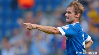 Sebastian Hille of Bielefeld celebrates scoring his team's first goal in the upset win over Braunschweig.
