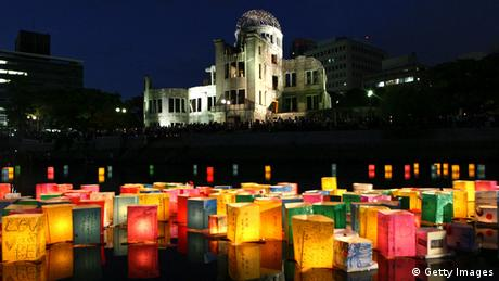 aper lanterns float on the Motoyasu River in front of the Hiroshima Peace Memorial, commonly called the Atomic Bomb Dome, at the Hiroshima Peace Memorial Park on August 6, 2012 in Hiroshima. (Photo by Buddhika Weerasinghe/Getty Images)