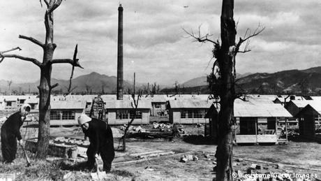 March 1946: New homes are built in Hiroshima to replace those destroyed by the atomic bomb dropped on the city on the 6th August 1945. (Photo by Keystone/Getty Images)