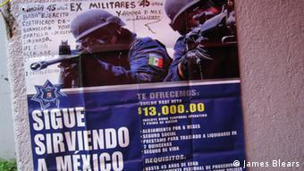 Soldiers on a poster Copyright: James Blears, DW Mitarbeiter, Mexico July 201