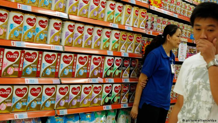 Infant formula in a Chinese supermarket during the 2013 botulism scare.