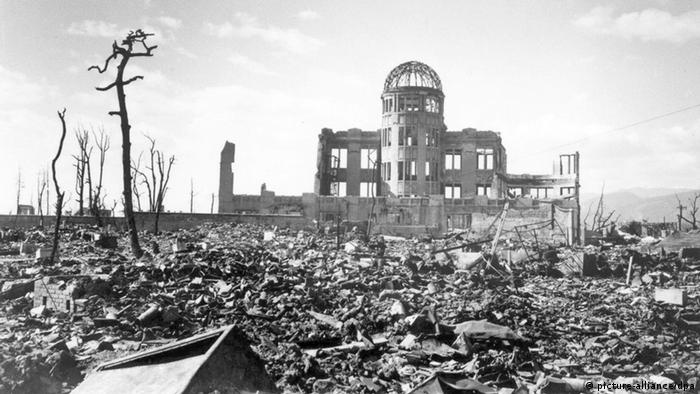 A handout photograph of Hiroshima A-bomb Dome photographed by U.S. military following atomic bomb drop on Hiroshima that killed over 140,000 people on 06 August 1945. The building, originally Hiroshima Prefectural Industrial Promotion Hall, was just160 meters northwest of the hypocenter. The skeletal structure of the dome standing above the cities ruins was a conspicuous landmark and has now became known officially as the A-bomb Dome. 06 August 2005 marks the 60th anniversary of the Hiroshima A-bomb blast. Image courtesy of Hiroshima Peace Memorial Museum. Image courtesy of Hiroshima Peace Memorial Museum. +++(c) dpa - Report+++