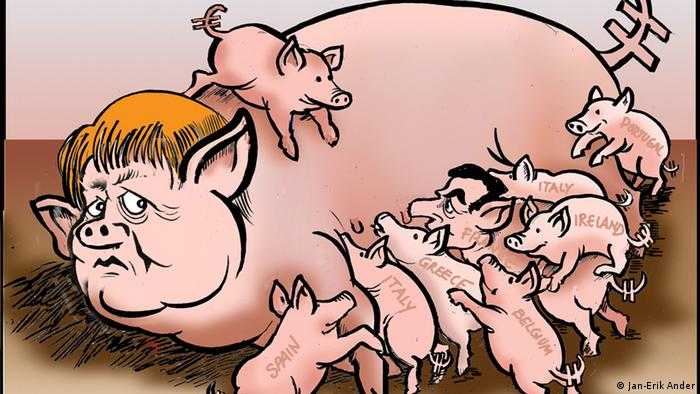 Merkel as a sow feeds eight piglets 
