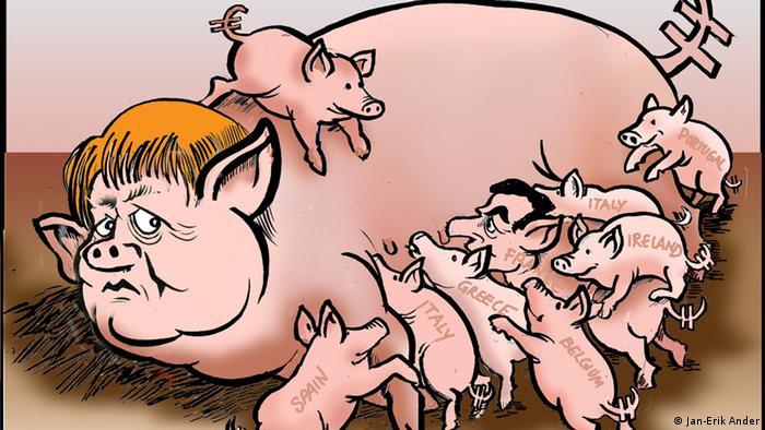 Меркель в виде свиноматки, которая кормит поросят с названиями стран еврозоны на боку