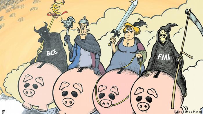 Глава Европейского центрального банка, бывший президент Франции Саркози, Ангела Меркель и глава МВФ как всадники апокалипсиса