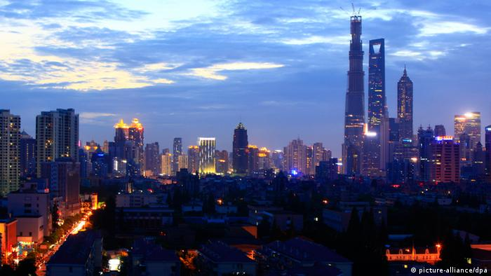 Aerial night view of skyline of the Lujiazui Financial District with the Shanghai Tower