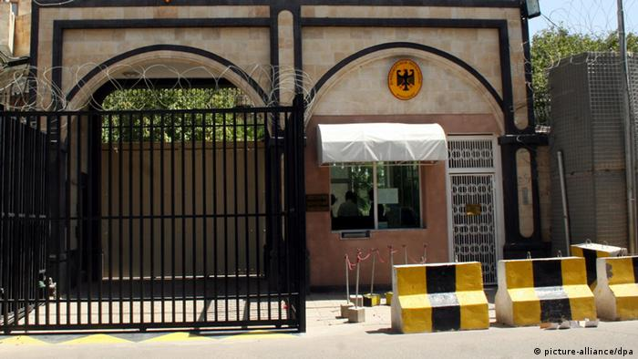 (FILE) A file picture dated on 04 October 2009, shows the main gate of the German Embassy in Sana'a, Yemen. The US and British embassies in the Yemeni capital Sana`a were closed 03 January 2010 amid terrorism threats threats from the regional branch of al-Qaeda, a Yemeni security source said. EPA/YAHYA ARHAB