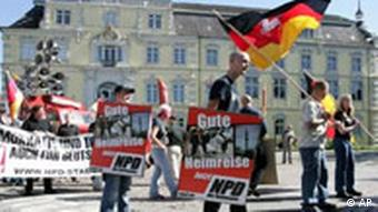 NPD supporters demonstrate on the streets of Oldenburg