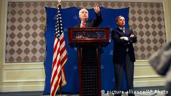 U.S. Senators John McCain, left, and Lindsey Graham, R-S.C., right, hold a press conference in Cairo, Egypt, Tuesday, Aug. 6, 2013. The two senior U.S. senators have urged Egypt's military-backed government to release detained members of the Muslim Brotherhood before starting negotiations. Tuesday's comments came after McCain and Graham met with top military and civilian leaders in Cairo as part of a flurry of international efforts to resolve a standoff with supporters of the ousted president Mohammed Morsi. (AP Photo/Amr Nabil)
