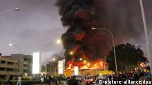 ©Kyodo/MAXPPP - 07/08/2013 ; NAIROBI, Kenya - Flames and smoke billow as a fire occurs at Nairobi international airport in Kenya on Aug. 7, 2013. (Kyodo)
