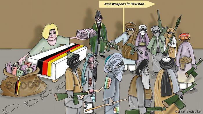 Меркель выкупает оружие у талибов, даставая деньги из мешка