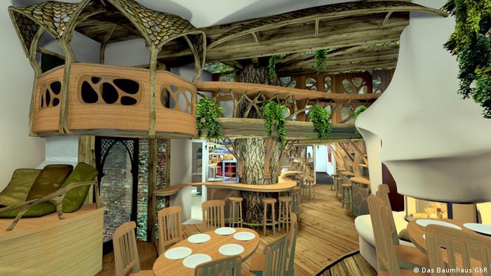 3-D Rendering eines indoor-Baumhaus - zeigt die Planung für den Ausbau des Hauptraumes eines Ladenlokals in der Gerichtstraße in Berlin Wedding zu einem Café und Veranstaltungsraum Das Baumhaus. 3D-Modell: Andrew James