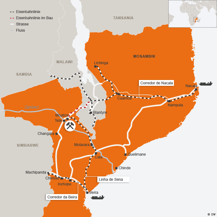 Karte: Routen des Kohleexports in Mosambik