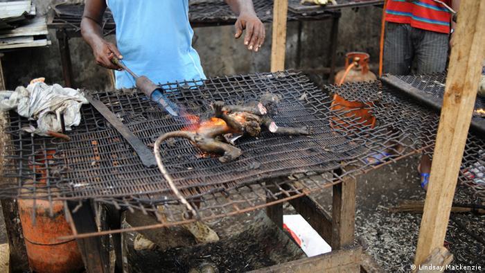 Charred monkey meat for sale at a market Photo: Lindsay Mackenzie