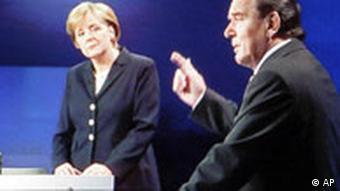 Merkel and Schröder during a televised debate