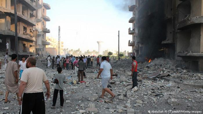 Explosion in Raqqa Anfang August 2013 (Foto: AFP)