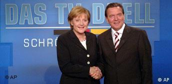 Wahl Fernsehduell Merkel - Schröder Live in Fernsehen